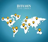 pic of bitcoin  - Bitcoin design over blue map background - JPG