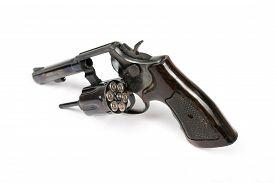 image of revolver  - Black revolver gun isolated on white background - JPG
