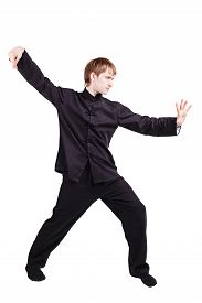 stock photo of scourge  - The man in a kimono practicing kung fu - JPG