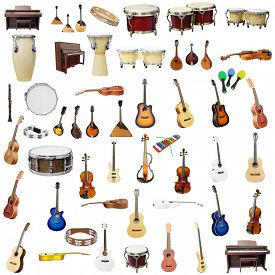 stock photo of wind instrument  - The image of music instruments isolated under the white background - JPG