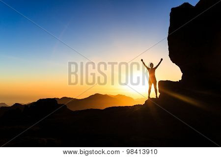 Woman Climber Success Silhouette In Mountains, Ocean And Sunset
