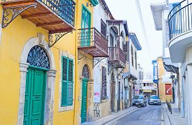 picture of stall  - The quiet street in the old town with colorful houses and tiny stalls Nicosia Cyprus - JPG