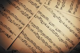 stock photo of musical scale  - Music notes background - JPG