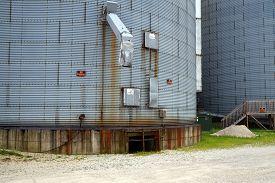 foto of chute  - The chute on the side of a steel grain elevator in downtown Minooka - JPG