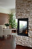 pic of scant  - Fireplace with living room in the background - JPG