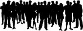 image of person silhouette  - Silhouette of a huge crowd of people  - JPG