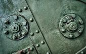 Abstract Green Industrial Metal Background Texture With Bolts And Rivets. Old Painted Metal Backgrou poster