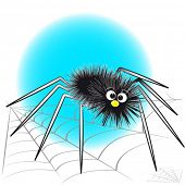 Black spider and spiderweb - Card for kids - Scrapbook and labels useful