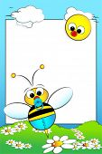 Kid scrapbook with baby bee and white daisies in a field with sun - Photo or message frame for children