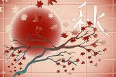 Falling japanese style with tree, leaves and moon. Ideogram of autumn
