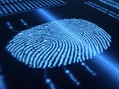 Fingerprint scanning technology on detail pixellated screen - 3d render -selective focus on scan lin
