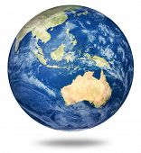 Planet Earth On White - Australia And Asian View (3d Source Maps- Http://visibleearth.nasa.gov/)