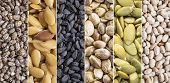 collection of healthy seeds - black and white chia, golden flax, black cumin,hemp and pumpkin - coll poster