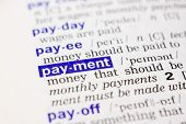 Dictionary definition of word payment in blue