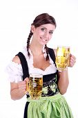 Bavarian woman celebrating the oktoberfest