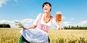 Funny oktoberfest beer holding woman with wheat in meadow cornfield