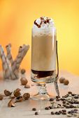 latte with cream and chocolate syrup