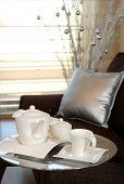 tea pot on a service table