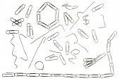 All existing forms of paper clips in use. Isolated on pure white.