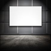 Classified room, facility or Base type of grungy interior, white screen board.