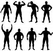 Many poses of young proportional athletic man