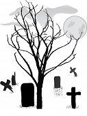 graveyard scene vector