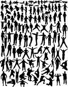 over hundred very detailed silhouettes of baby, kids, girl, boy, woman and man moving, standing, doi