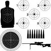 Different targets in vector format with sniper rifle and bullets.