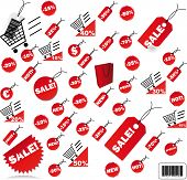 very big Set of red price tags