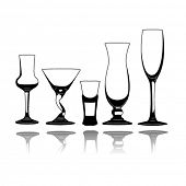 Set of vector silhouette glasses