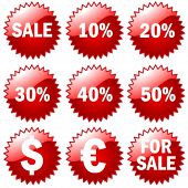 big 3d Set of red price tags in vector design