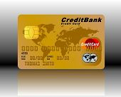 Credit Card in Gold with shadow and background