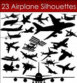 Airplane silhouettes in vector art