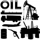 Oil industry silhouettes. Vector