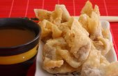 image of wanton  - asian style fried wanton and sweet and sour sauce bowl - JPG