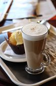 Cafe Coffee - Latte In A Glass With Lemon Muffin