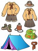Scout clothes and gear collection - vector illustration.
