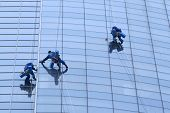 pic of window washing  - Workers washing windows in the office building - JPG
