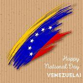 Постер, плакат: Venezuela Independence Day Patriotic Design Expressive Brush Stroke In National Flag Colors On Kraf