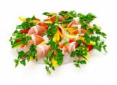 Ham Roll With Fresh Vegetables And Parsley.