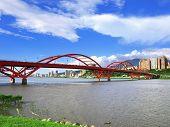 Arch bridge on river