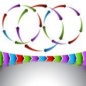 An image of a set of venn arrow diagrams and chevrons.