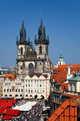 Tyn Cathedral on Prague Town Square, Czech Republic