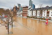 FRANKFURT- JANUARY 15: Flood in Frankfurt am Main due to extremely high water in Main river, January