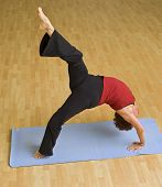senior woman  exercising doing bridge gymnastic bikram hot yoga