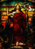 stock photo of stained glass  - Beautiful artistic stained glass portrait of Jesus - JPG