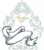 stock photo of thank you  - blue vintage thank you card - JPG