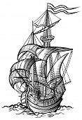 pic of sailing-ship  - vector illustration of an old sailing boat - JPG