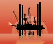 Vector illustration of a drilling platform in sea