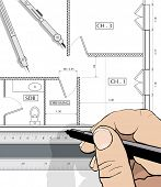 Drawing an house plan with a straight edge and dividers (vector)